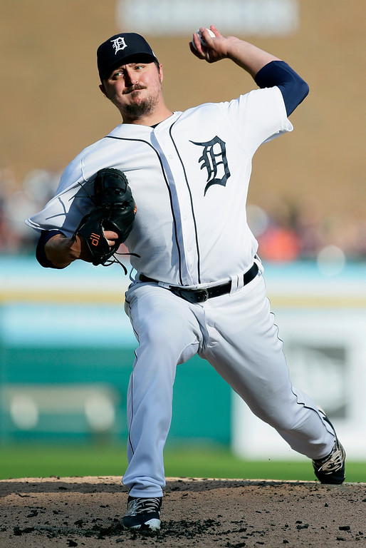 . Detroit Tigers\' Blaine Hardy pitches to a Cleveland Indians batter during the second inning of a baseball game Saturday, July 28, 2018, in Detroit. (AP Photo/Duane Burleson)