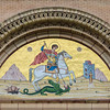 "<a href=""http://www.stgeorgestoronto.org/index.html"" target=""_blank"">St George's Greek Orthodox Church</a> Typanum - Byzantine mosaic of St George slaying a dragon and saving a Libyan princess"
