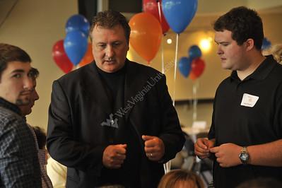 25581 President Peter Magrath basketball coach Bob Huggins United Way kickoff 2008