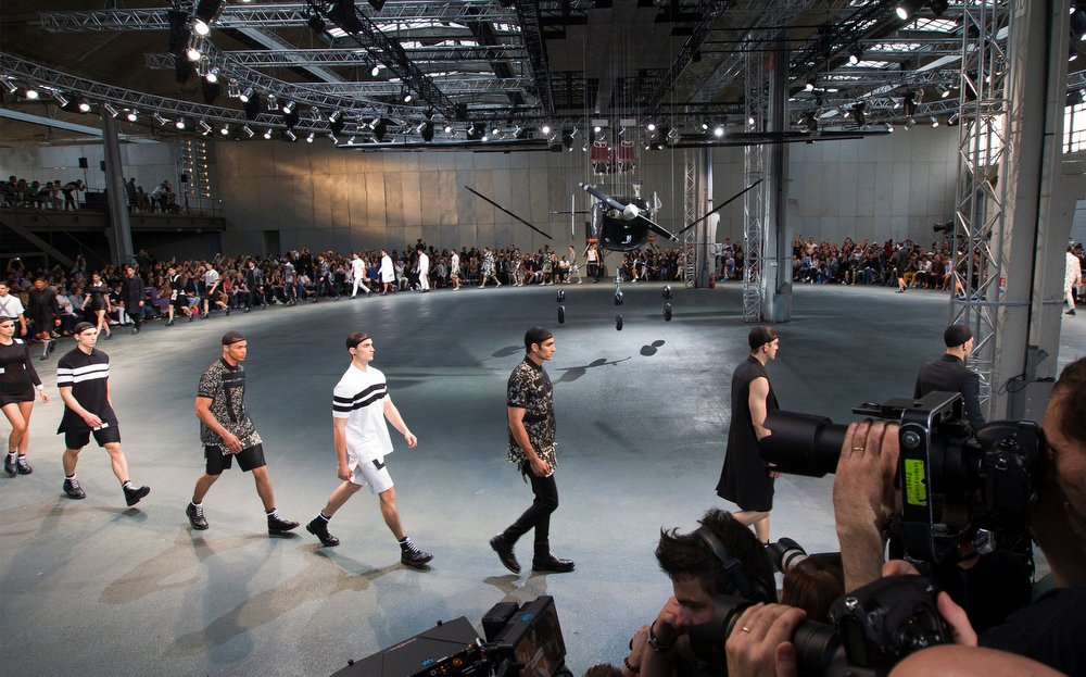 . Models wear creations by Italian designer Riccardo Tisci as part of Givenchy men\'s Spring-Summer 2015 fashion collection, presented in Paris, Friday, June 27, 2014. (AP Photo/Jacques Brinon)