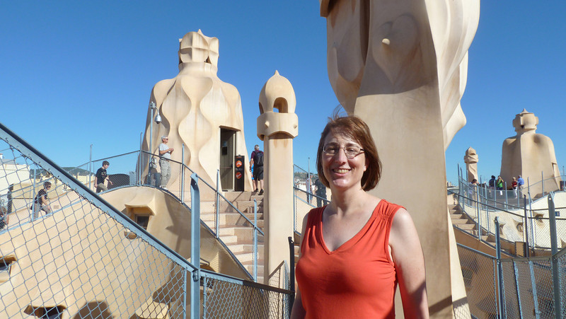 Karen poses on the roof of Casa Mila (aka La Pedrera). Not only a stunning rooftop in its own right, but it offers an excellent view of Barcelona city.