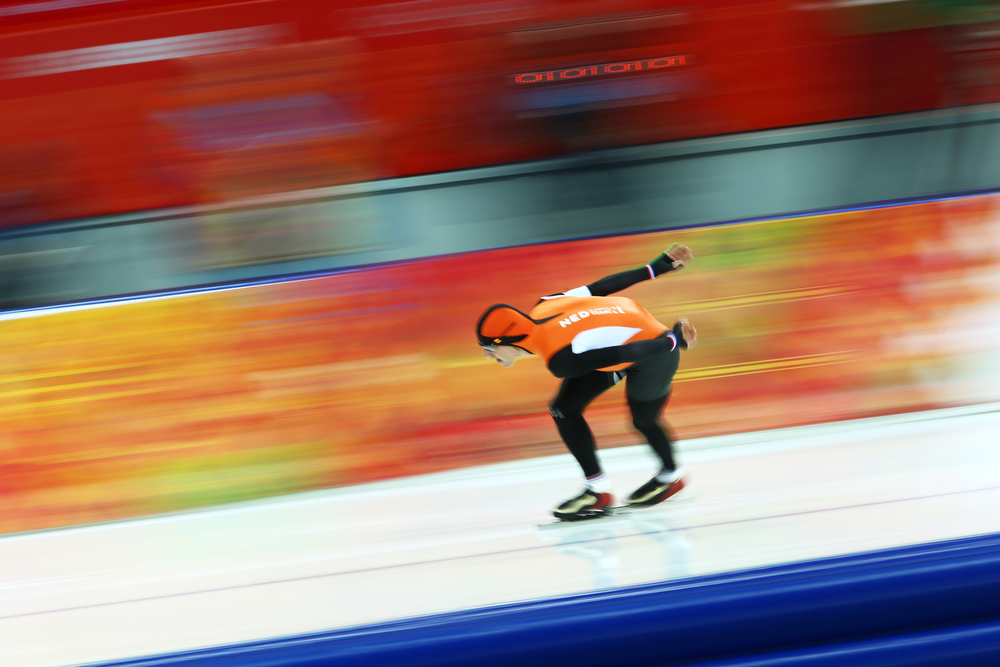 . Bob de Jong of the Netherlands competes during the Men\'s 10000m Speed Skating event on day eleven of the Sochi 2014 Winter Olympics at Adler Arena Skating Center on February 18, 2014 in Sochi, Russia.  (Photo by Paul Gilham/Getty Images)