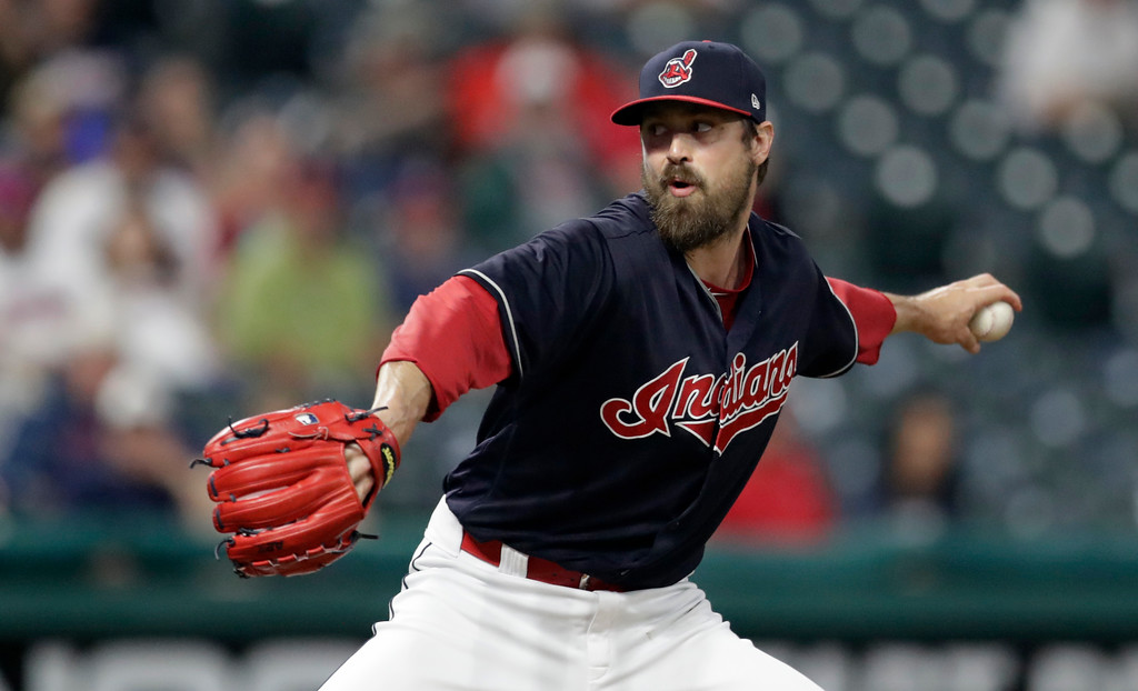 . Cleveland Indians relief pitcher Andrew Miller delivers in the seventh inning of a baseball game against the Minnesota Twins, Tuesday, Aug. 7, 2018, in Cleveland. (AP Photo/Tony Dejak)