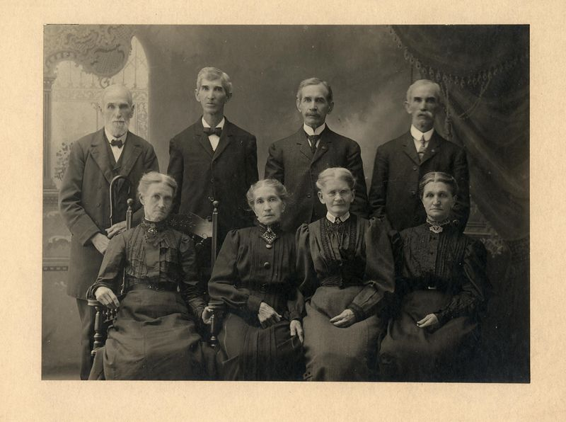 """Children of Benedict and Eve Stevens. L to R front Catherine """"Kate"""" Gilbert (Stevens) Covert (1834-1917) Rachel (Stevens) Heck (1836-1906) Rebecca """"Becky"""" (Stevens) Wright (1839-1913) Isabelle """"Belle"""" (Stevens) Heeter (1847-1930) Asa S. Stevens (1823-1911) Benedict Tarring Stevens (1838-1916) Franklin Dyson Stevens (1841-1928) Wesley Lee Stevens (1842-1928)"""