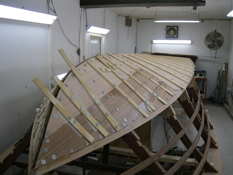 Front starboard view of second layer installed.