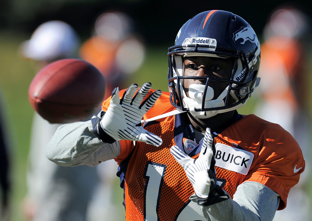 . Denver Broncos WR Chad Bumphis (16) catches a pass during practice October 23, 2013 at Dove Valley. (Photo by John Leyba/The Denver Post)