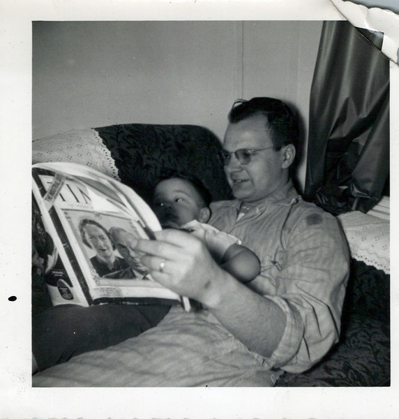 1951 Doc reading Tim Magazine to Ken.jpeg