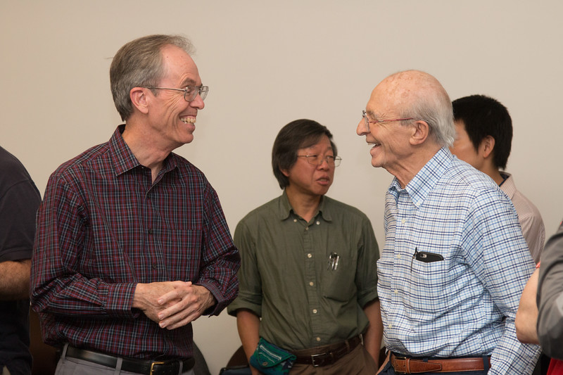 Frank Marshall and Peter (Yang Soong at center rear) -- Retirement party for Peter Serlemitsos from NASA/GSFC after 55 years. -- April 27, 2017 -- NASA/Goddard Space Flight Center, Greenbelt, MD