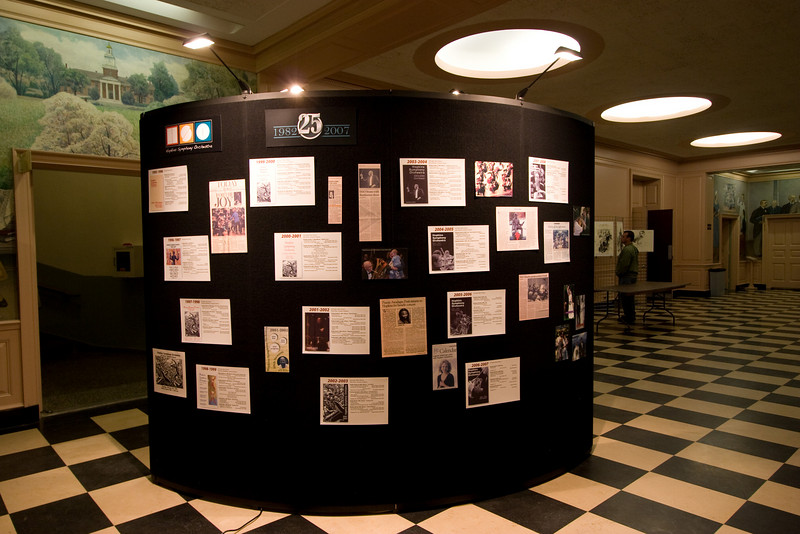 Lobby display (side 2) (graphic design and display preparation/execution by Paul Stapp; scanning  of archival material  and much of the photography by David Friedlander) -- HSO 25th Anniversary concert