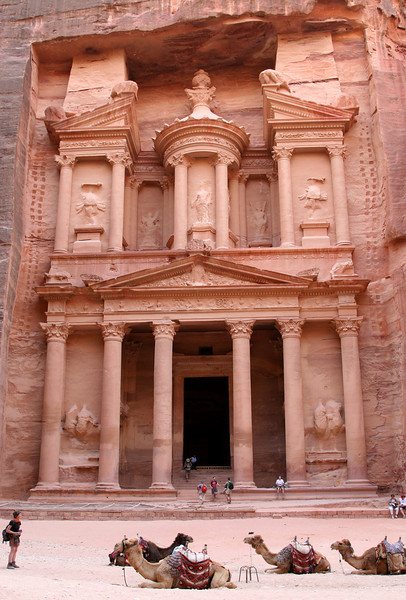 Petra - The Treasury.  This photo is taken at the end of the day; the previous photos were taken in the morning when the sun shines of the monument.