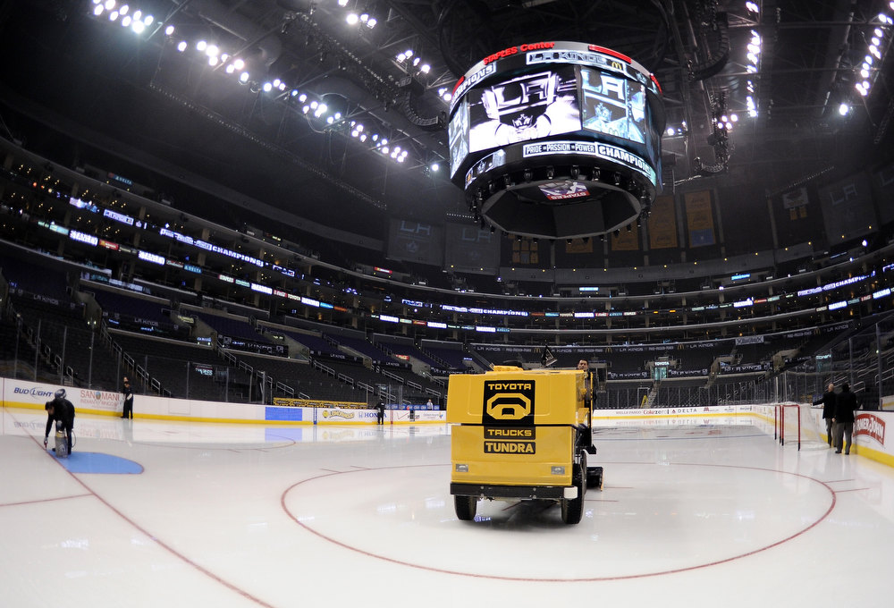 . LOS ANGELES, CA - JANUARY 19:  The ice is cleaned and prepared for the NHL season opening game between the Chicago Blackhawks and the Los Angeles Kings at Staples Center on January 19, 2013 in Los Angeles, California.  (Photo by Harry How/Getty Images)