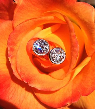 1.08ctw Old European Cut Diamond Bezel Earrings