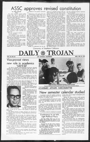 Daily Trojan, Vol. 61, No. 80, February 25, 1970
