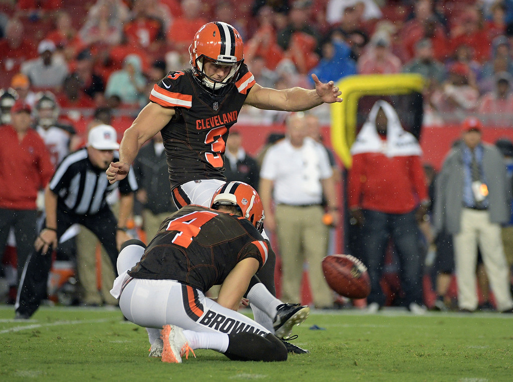 . Cleveland Browns kicker Cody Parkey (3) kicks a field goal against the Tampa Bay Buccaneers during the first quarter of an NFL preseason football game Saturday, Aug. 26, 2017, in Tampa, Fla. Holing for the Browns is Britton Colquitt (4). (AP Photo/Phelan Ebenhack)
