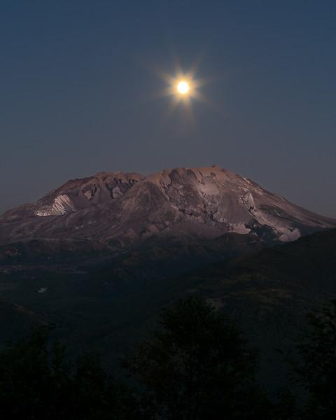 Full moon over Mt St Helens