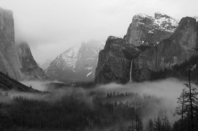 Rainy day Yosemite valley in black and white