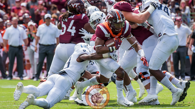Deshawn McClease tries to shake off a defender in the matchup against Old Dominion University in Lane Stadium on Saturday, Sept. 7, 2019. (Photo: Cory Hancock)