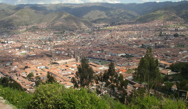 The city of Cuzco, with the Plaza de Armas.