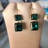 Georgian Double Drop Emerald Paste Earrings 2