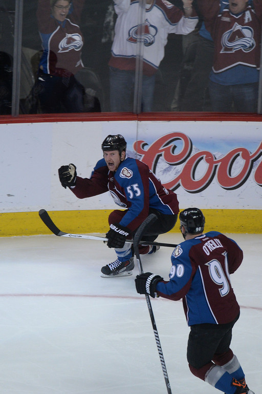 . DENVER, CO - APRIL 26: Cody McLeod (55) of the Colorado Avalanche reacts to scoring a game-opening 1-0 goal against the Minnesota Wild during the second period. The Colorado Avalanche hosted the Minnesota Wild during game five of the first round of the NHL Stanley Cup Playoffs at the Pepsi Center on Saturday, April 26, 2014. (Photo by Karl Gehring/The Denver Post)