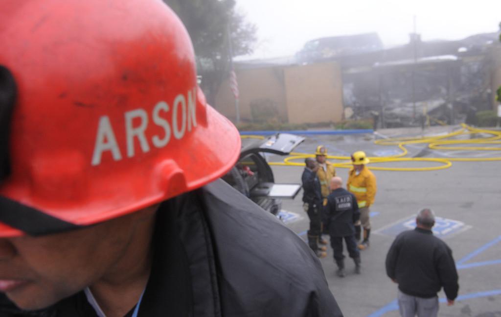 . Elks Lodge fire in San Pedro. . Arson investigators at the scene for LAFD(April 15, 2014. Photo by Brad Graverson/The Daily Breeze)