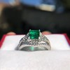1.29ctw Emerald and Diamond Modified Halo Ring 3