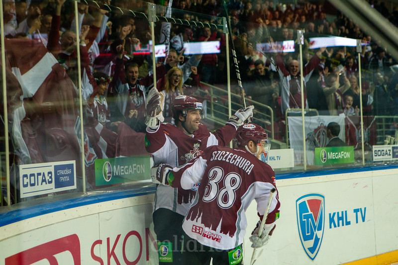 Alexandre Giroux (12) of Dinamo Riga celebrates his opening goal in the first period during KHL regular championship game between Dinamo Riga and Donbass Donetsk in Arena Riga