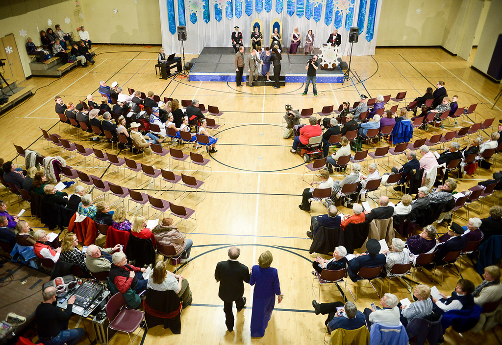 . Candidates for the Senior Royalty Coronation enter the auditorium at the Paul and Sheila Wellstone Center at the start of the ceremony.  (Pioneer Press: Ben Garvin)