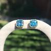 8.41ctw Blue Zircon Asscher Cut Bezel Earrings 6