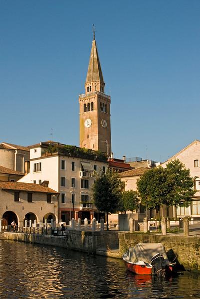 Campanile and Lemene River, Portogruaro, Italy
