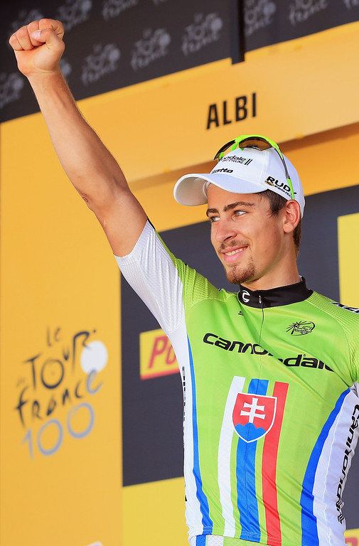 . ALBI, FRANCE - JULY 05:  Peter Sagan of Slovakia riding for Cannondale takes the podium as he celebrates his victory in stage seven of the 2013 Tour de France, a 205.5KM road stage from Montpellier to Albi, on July 5, 2013 in Albi, France.  (Photo by Doug Pensinger/Getty Images)