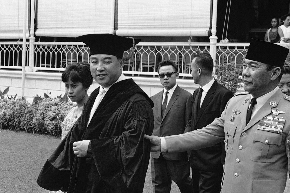 . North Korean communist leader Kim Il Sung, left, with Indonesian President Sukarno, was conferred an \'honorary degree of doctor of engineering\' by the University of Indonesia in Jakarta, Indonesia on April 15, 1965. (AP Photo)