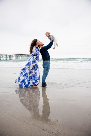 San Diego Beach family portraits baby one year old 92109 photographer - Crystal Pier Pacific Beach