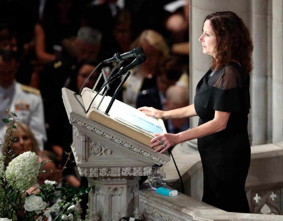 . Sidney McCain reads scripture at a memorial service for her father, Sen. John McCain, R-Ariz., at Washington National Cathedral in Washington, Saturday, Sept. 1, 2018. McCain died Aug. 25, from brain cancer at age 81. (AP Photo/Pablo Martinez Monsivais)