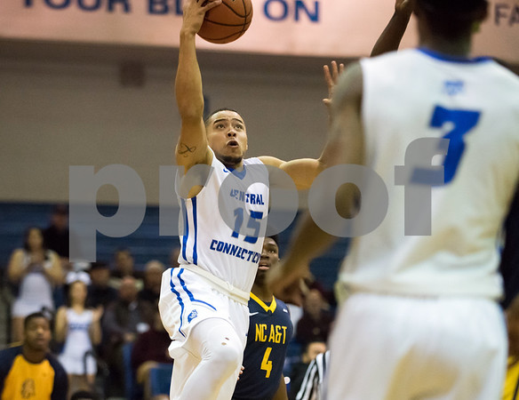 11/30/17 Wesley Bunnell | Staff CCSU Men's Basketball defeated North Carolina A&T on Thursday evening at Derrick Gymnasium in New Britain. Shakaris Laney (15).