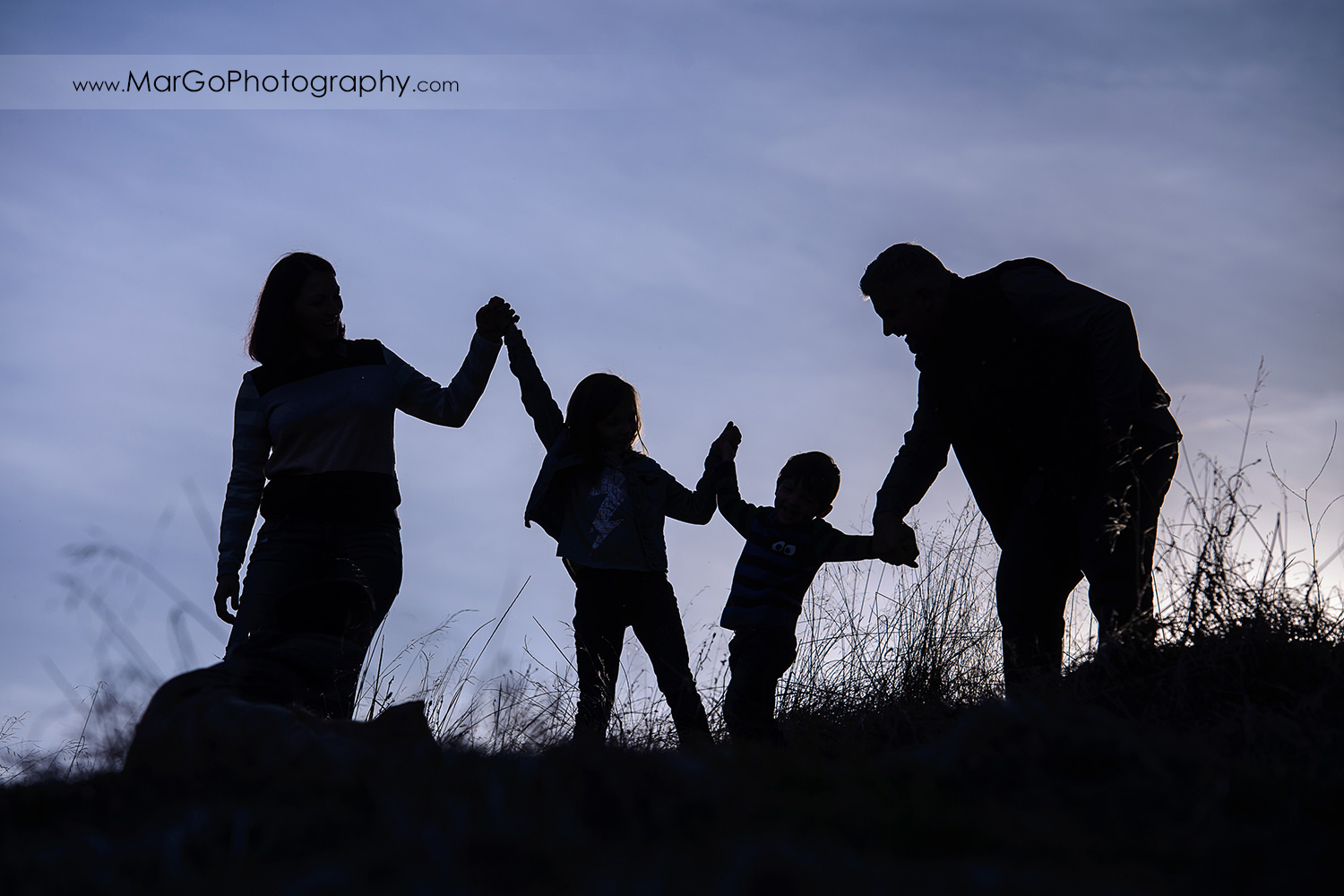 silhouette of family of four holding hands and standing on the top of the hill during photo session at Diablo Foothills Regional Park in Walnut Creek