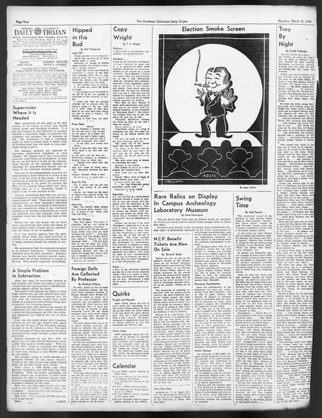 Daily Trojan, Vol. 29, No. 102, March 21, 1938