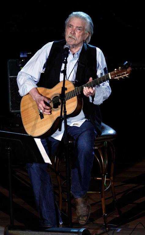 """. FILE - This Sept. 12, 2012 file photo shows Guy Clark at the 11th annual Americana Honors & Awards in Nashville, Tenn. Clark, the West Texas songwriter who penned such country hits as \""""L.A. Freeway\"""" and \""""Desperados Waiting for a Train,î is nominated for a Grammy for his album, ìMy Favorite Picture of You.î  (Photo by Wade Payne/Invision/AP, File)"""