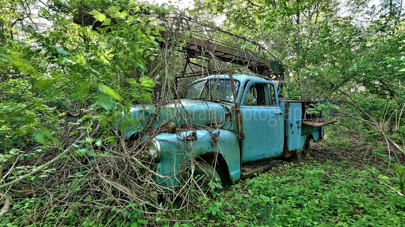 Vintage Rusty Powder Blue Utility Truck