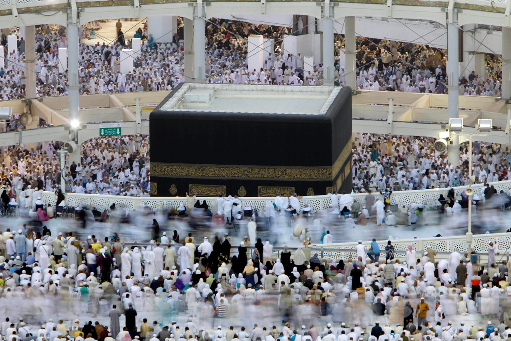 . Muslim pilgrims circle the Kaaba as they pray inside the Grand Mosque in the Muslim holy city of Mecca, Saudi Arabia, Thursday, Oct. 10, 2013. Every Muslim is required to perform the hajj, or pilgrimage, to Mecca at least once in his or her lifetime if able to do so. (AP Photo/Amr Nabil)