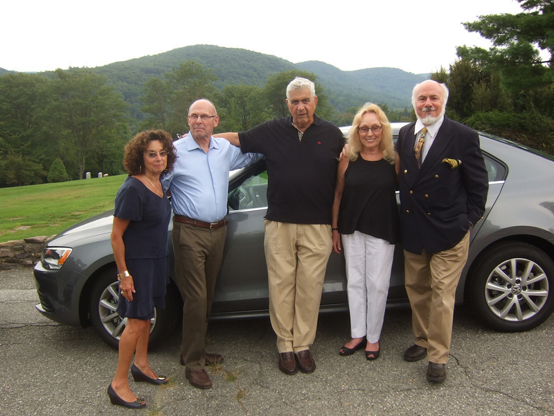 Joan (Somerstein) Walsey, (left); Ira Coleman, (2nd on left); Irwin Solomon (husband of Doreen), (3rd on left); Doreen (Coleman) Solomon, (2nd on right); Stephen F. Somerstein (brother of Joan), (right) - Elliot Walsey gravestone unveiling and luncheon