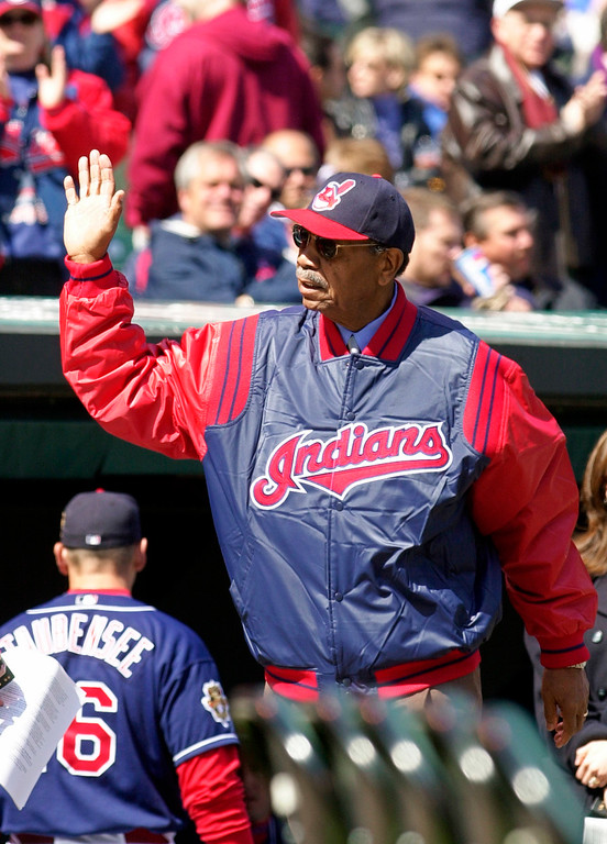 . Hall of Fame outfielder Larry Doby waves to the crowd at Jacobs Field in Cleveland Monday, April 2, 2001.  (AP Photo/Mark Duncan, File)