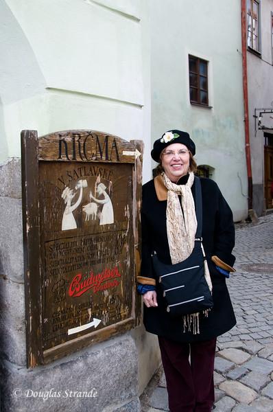 Louise posing by a Cesky Krumlov restaurant