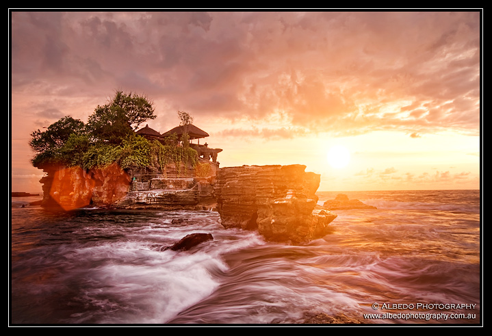 Tanah Lot temple at sunset, Bali Indonesia