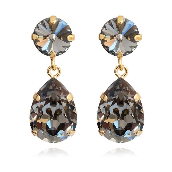 Classic Drop Earrings / Black Diamond / Gold