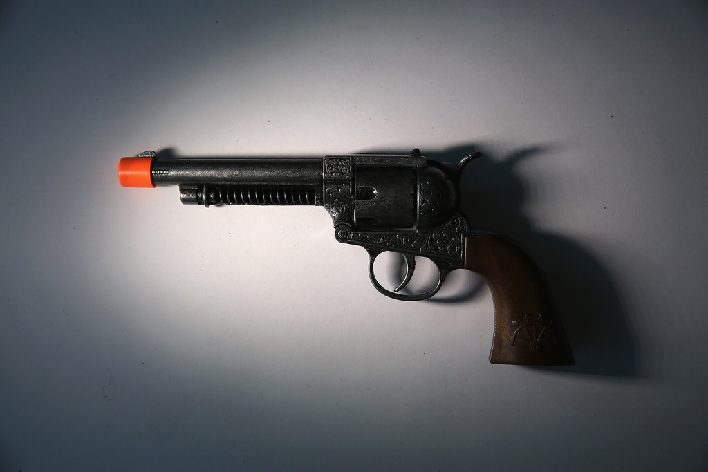 . A toy gun is displayed after being confiscated at an airport security checkpoint at the JFK International Airport on November 18, 2014 in New York City.  (Photo by John Moore/Getty Images)