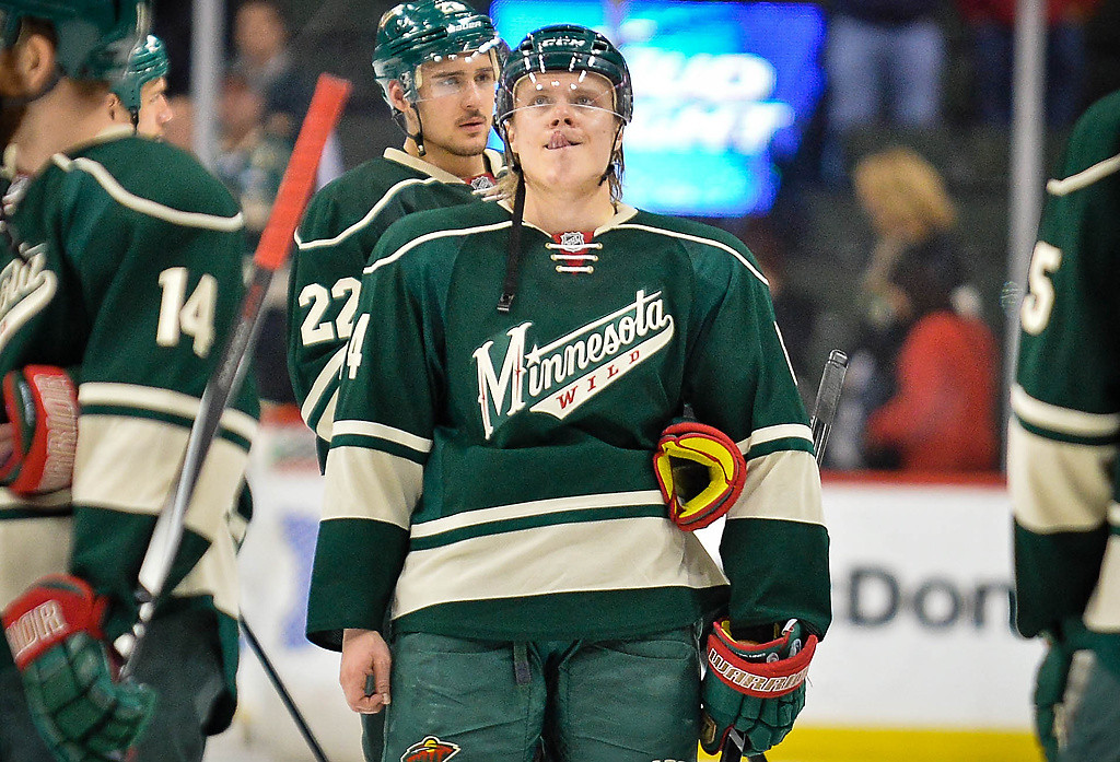 . Minnesota Wild center Mikael Granlund reacts after losing in overtime. (Pioneer Press: Ben Garvin)