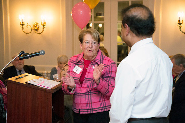 10/10/19 Wesley Bunnell | StaffrrThe CT Breast Health Initiative held their award dinner at Shuttle Meadow Country Club to honor their donors. Louise Belkin from the CT BHI applauds Ravi Jain, M.D. , P.H.D. from Middlesex Health as he receives the Howard H. Belkin Memorial Grant which is named in honor of her late husband.