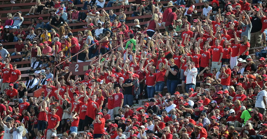 . Utah fans during the first half of an NCAA college football game against Southern California in the Los Angeles Memorial Coliseum in Los Angeles, on Saturday, Oct. 26, 2013.  (Photo by Keith Birmingham/Pasadena Star-News)