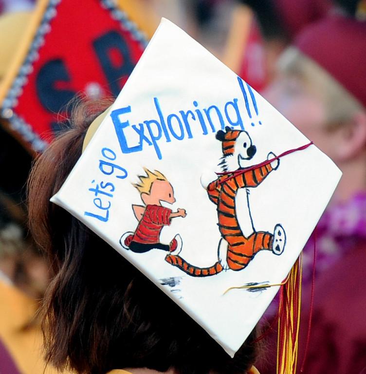 . A colorful cap during the La Canada High School commencement at La Canada High School on Thursday, June 13, 2013 in La Canada, Calif.  (Keith Birmingham/Pasadena Star-News)